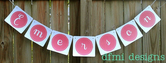 Ruffled edge CUSTOM NAME BANNER large reusable 2 dollars per letter