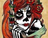Day of the Dead Art Tattoo Print LA ADELITA & Pistol 8 x 10 or 11 x 14