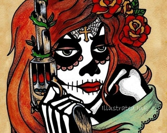 Day of the Dead Art Tattoo Print LA ADELITA & Pistol 8 x 10 or 11 x 14