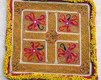 Vintage Embroidered Doily, Afghanistan: Zazi Silk, Item 137