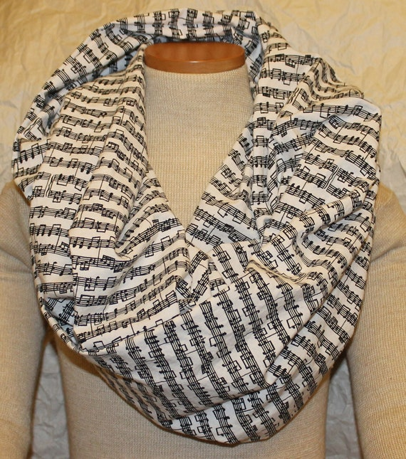 Sheet Music Infinity Scarf in Black and White