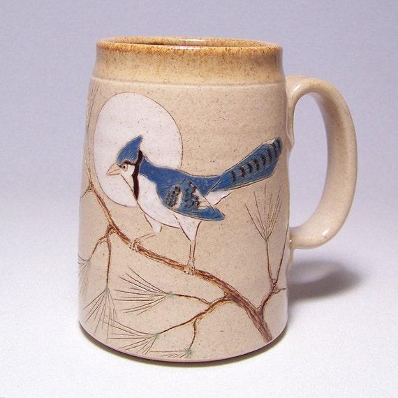 RESERVED CUSTOM Blue Jay Pottery Coffee Mega Mug Limited Series 38 (microwave safe) 24 ounce