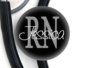 Stethoscope Identification Tag - Personalized Name - RN MD PT Black and other abbreviations