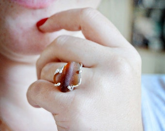 READY TO SHIP Handmade Root Beer Brown Seaglass Ring Sterling
