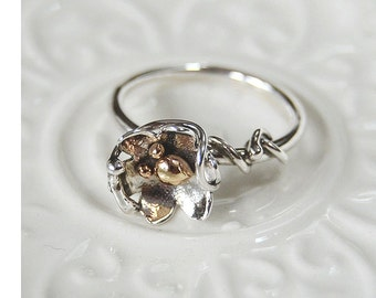 Sterling Silver and 14KT Gold Flower Ring