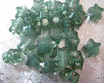 Green Glitter Star Beads Acrylic Cute 13mm 100 Beads 3mm Hole