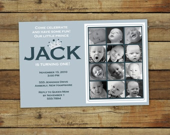 Little Prince first birthday party invitation and photo collage - little prince birthday party