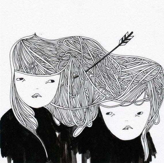 original drawing illustration- the two girls