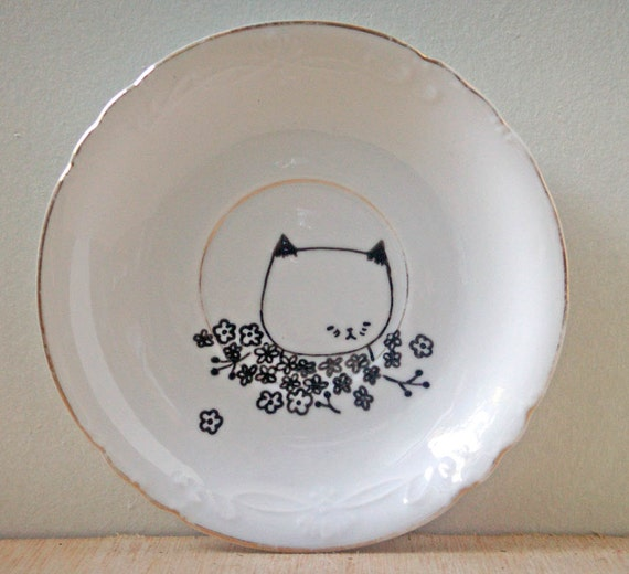 small plate hand drawn- original drawing illustration cat with flowers