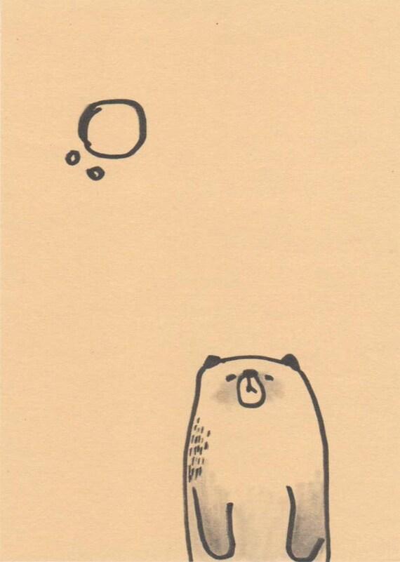 original drawing bear ink and graphite animal art