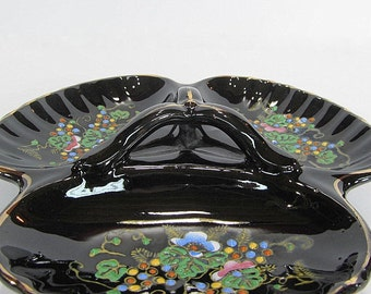 Vintage Black Dish Divided Dish Snack Dish Serving Dish With Handle