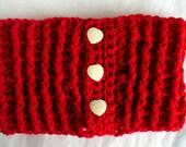 Chunky Bright Red Neckwarmer Crochet Scarf