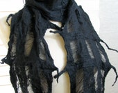 Nuno Felted Silk Scarves, Women, Lattice Grid Scarf,  Black Beauty Silk Chiffon and Merino Wool 1226