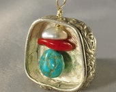 Fine Silver Pendant with Pearl, Coral and Turquoise Beads
