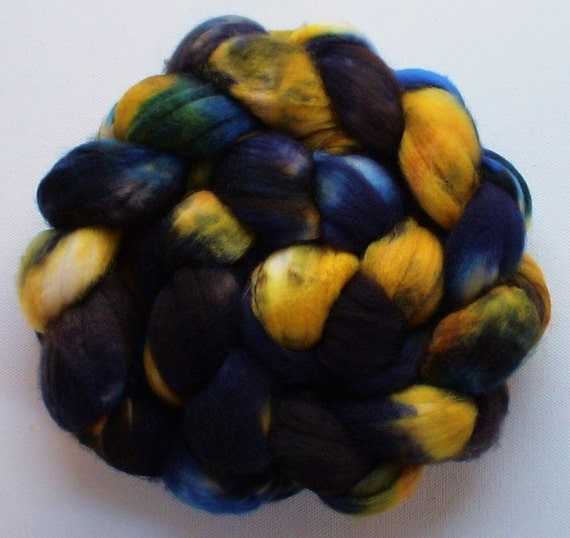 Wool roving hand dyed superwash superfine merino wool 4ozs River Gold 2