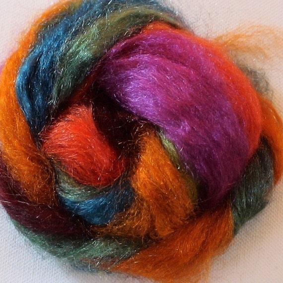 Hand dyed firestar roving sparkle nylon 1/2oz pack 10