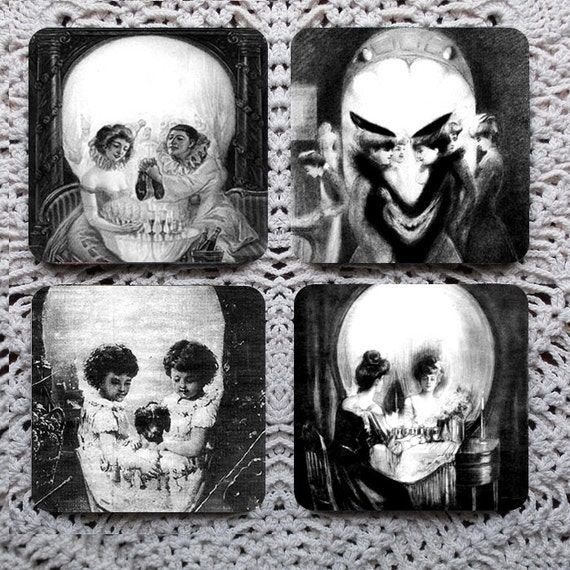 Look Closely, Now -- Optical Illusion Skull Mousepad Coaster Set