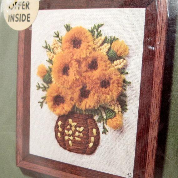 Vintage crewel kit embroidery flower bouquet