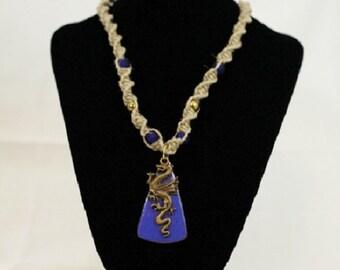 Hemp necklace Copper enameled dragon necklace yacht blue brass