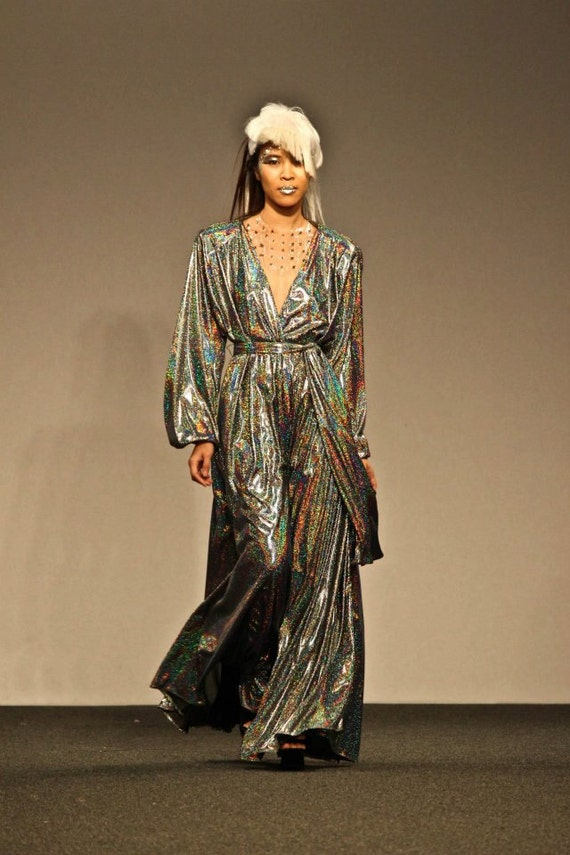 Futuristic Disco Plunging V Maxi Gown with accentuated shoulders, Holographic Avant Garde Runway Sample