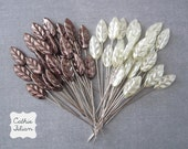 50 Trinket Pins - Cream and Brown Leaf - Scrapbooking Embellishment, Millinery - Maya Road