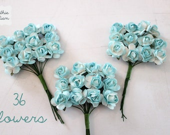 36 Baby Blue Paper Flowers - small bouquet - weddings - favors - invitations - paper goods