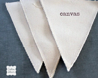 Canvas Pennant Flags - Fabric - set of 3 - altered art - collage - scrapbooking - distressed - banner