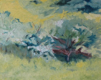 """Art Plein Air Landscape  Oil Painting Impressionist Abstract Apple Tree Appalachian Quebec Canada By Fournier """" Through The Branches 16 x 20"""