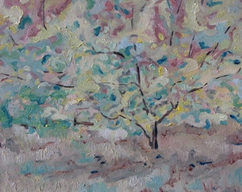 """Plein Air Oil Painting Original Art Small Painting Apple Tree Impressionist Abstract Appalachian Quebec Canada """" Falling Colours """" 10"""" x 12"""""""