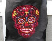 Field Messenger Bag Black Leather With Sugar Skull