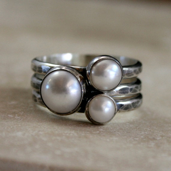 Pearl Stacking Rings Sterling Silver Set Of Three Stackable