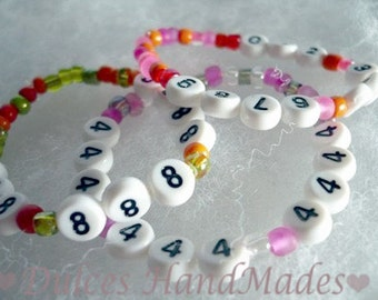 Personalized Emergency phone number Bracelet ID find me fast security children vacation number beads lost child  code adam