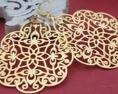 Kaleidoscope Chandelier Earrings, Gold Filigree Drop Earrings, Matte Gold Earring, Chandelier Dangle Earrings, Large Chandelier Earrings