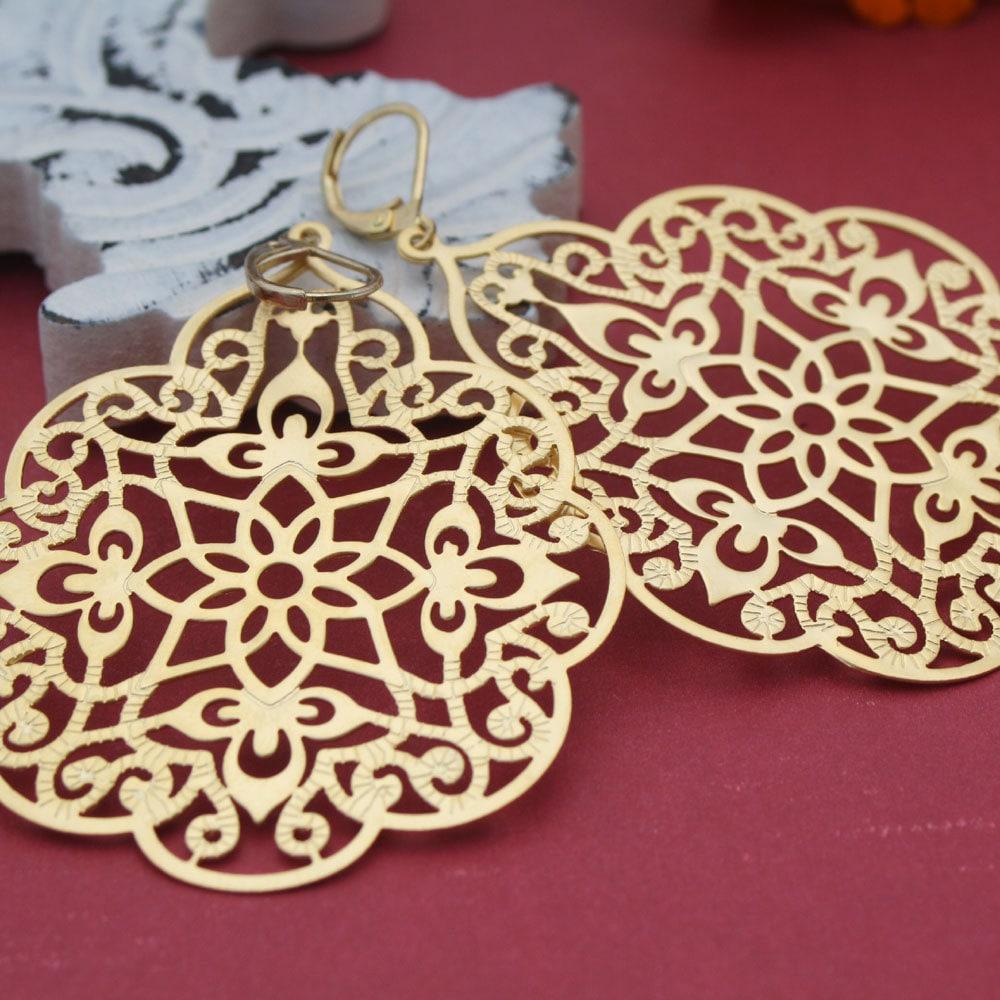 Kaleidoscope Chandelier Earrings Gold Filigree By Heatherberry