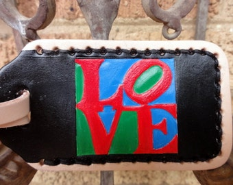 LOVE leather luggage tag