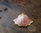 Vintage  Gilded / Gold Plated Fan Shaped Scallop Seashell Pendant // Repurposed/ Upcycled Necklace