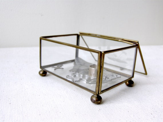 Vintage Brass and Etched Glass Box / Display  box
