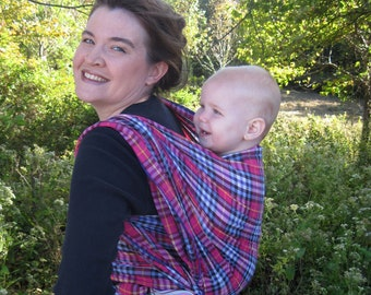 Gauze Baby Wrap Carrier - Cotton nonstretchy in Vibrant Fuschia Plaid - DVD included - wide