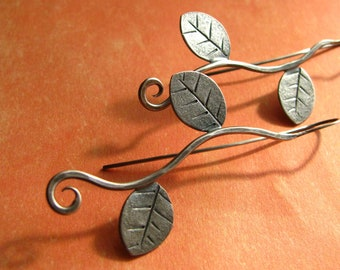 Sterling Silver Leaf Earrings, Long Twining Leaf And Vine Earrings, Silversmith Jewelry, Dangle Earrings, Nature Design Silver Earrings