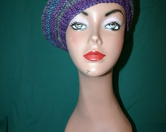 Wee Wee - The feel of Paris - Beautiful Knitted Beret in Varigated Purples, Browns & Turquoises