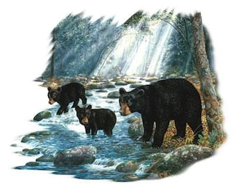 Black Bear & cubs in a stream on Sweatshirt - U Pic Size - Small to XXL