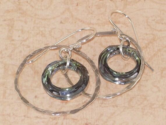 Sterling Silver Hoop Earrings, Swarovski, Crystal, Sahara, Cosmic, Ring, Handmade Jewelry, DDurda