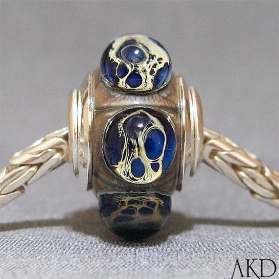 Handmade Blue & Gold Dot Lampwork Glass Bead European Charm Fits Troll Bracelet Midnight Web