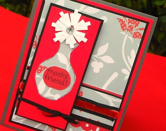 Clearance Thank You Card, Red and Gray with Flower, Flower in a Vase Card, Quilled Flower, Thanks Friend Card
