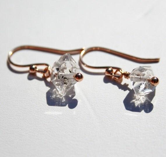 Herkimer Diamond Earrings on Rose Gold