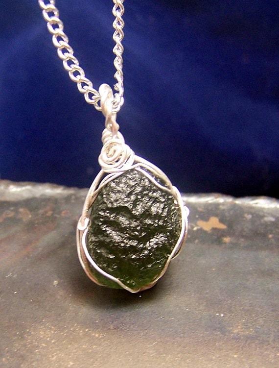 Moldavite Moldavite Necklace Pendant Sterling Silver Wire