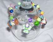 CUSTOM LISTING for Maribel only please chunky charm bracelet - buzz woody hamm alien and other funky beads charms - OOAK