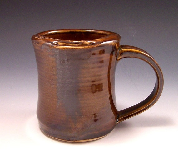 Handmade Pottery Mustache Mug in Amber Brown