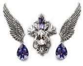 Swarovski Jewelry Set // Purple Crystal Wing Earrings and Necklace // Victorian Gothic Bridal Jewelry Set // gift for her
