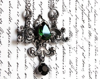 Gothic Necklace Victorian Fleur De Lys Lis Green and Black Swarovski Crystal Necklace victorian gothic jewelry gift